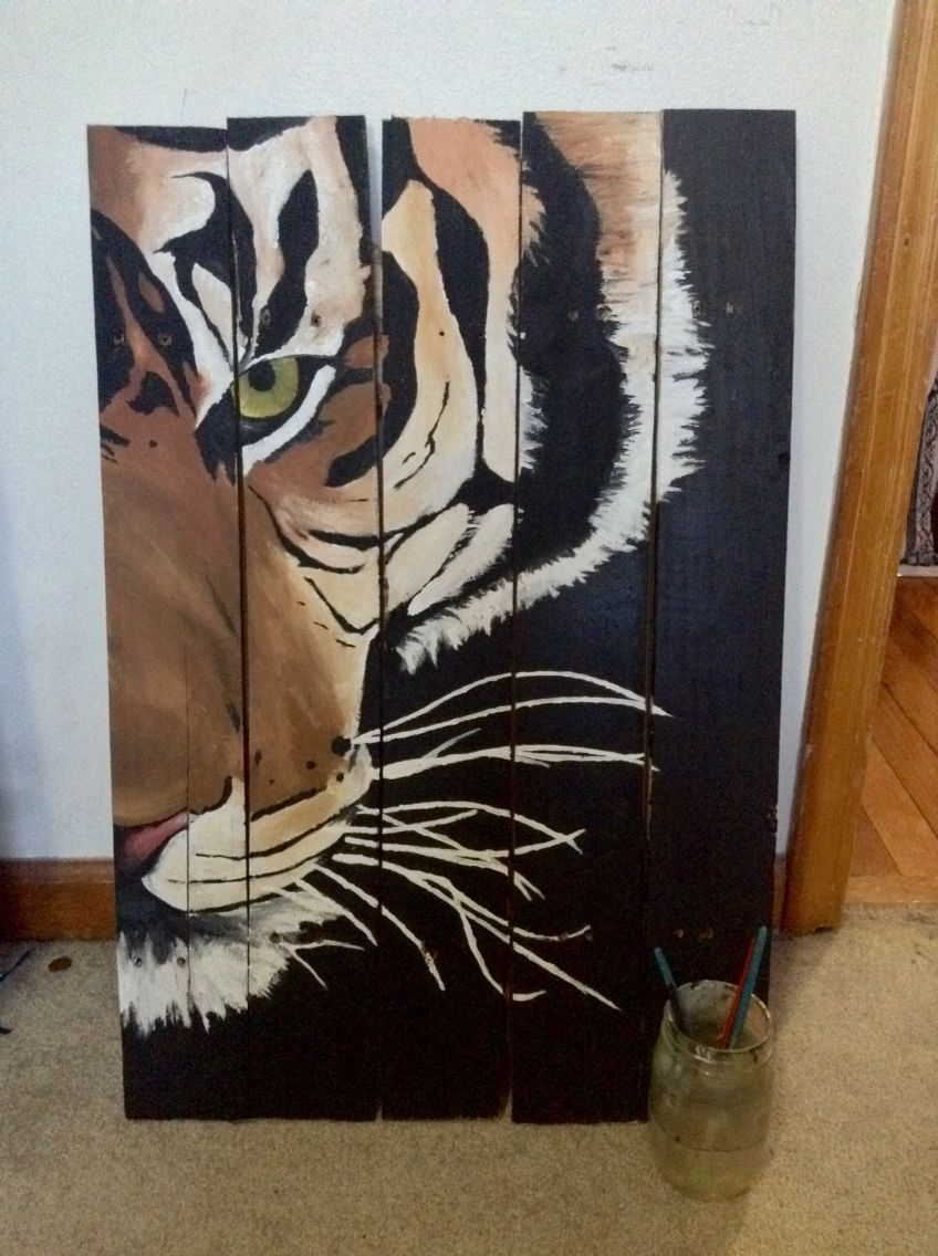 I guess tigers are cool too DIY tiger painting Living room or