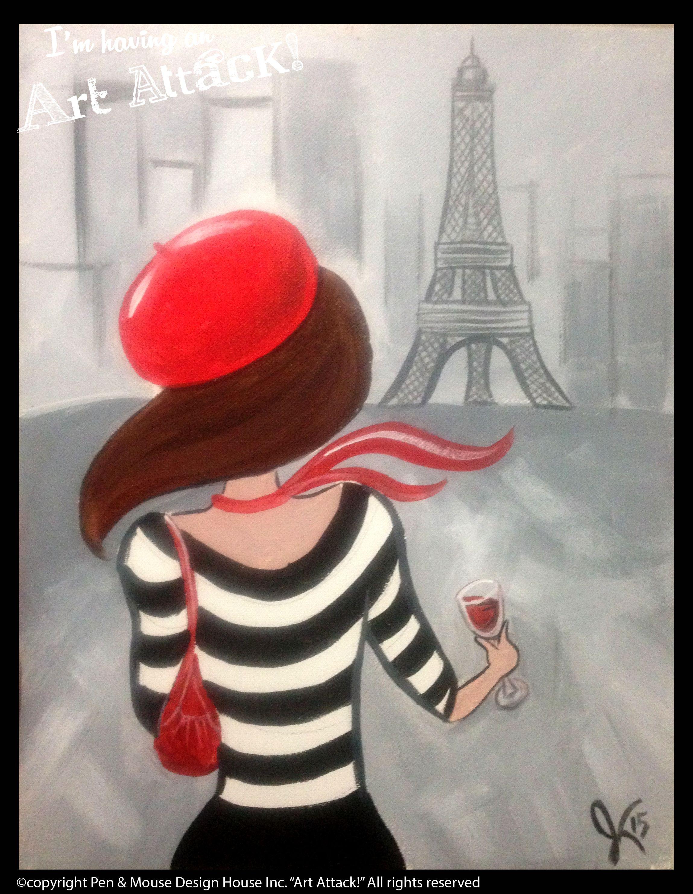 Amelie In Paris I M Having An Art Attack Social Painting Parties Www Artattackpaintparty Com Original Artwor Art Paint Party Paris Artwork Paris Painting