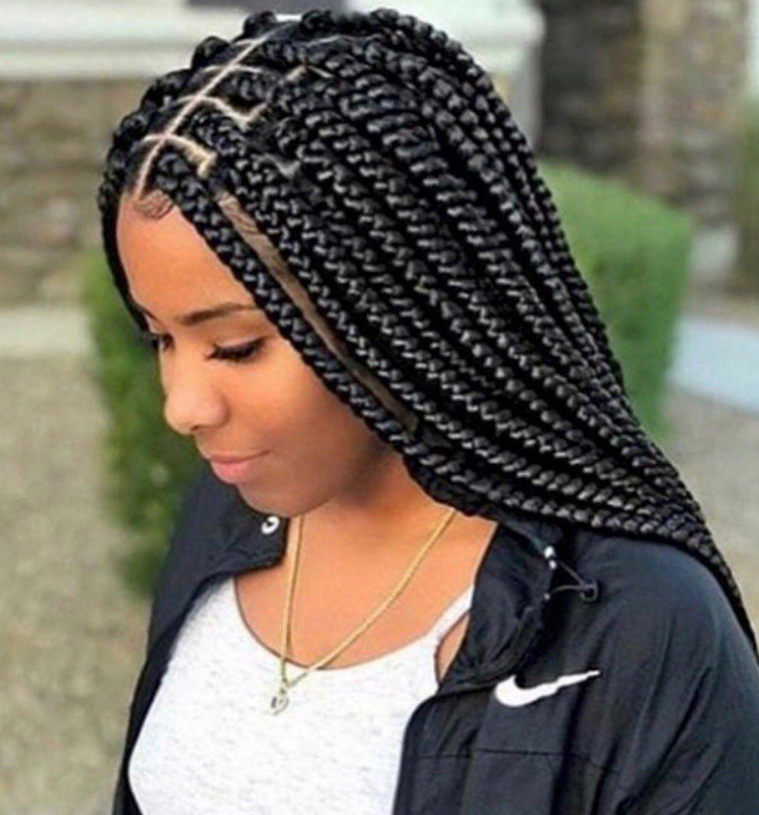 16++ Medium box braids side part trends