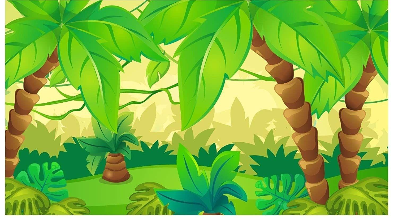 7x5ft Cartoon Green Cute Forest Rainforest Jungle Theme Backdrop Children Kids Backgrounds Jungle Cartoon Backdrops Backgrounds Jungle Theme