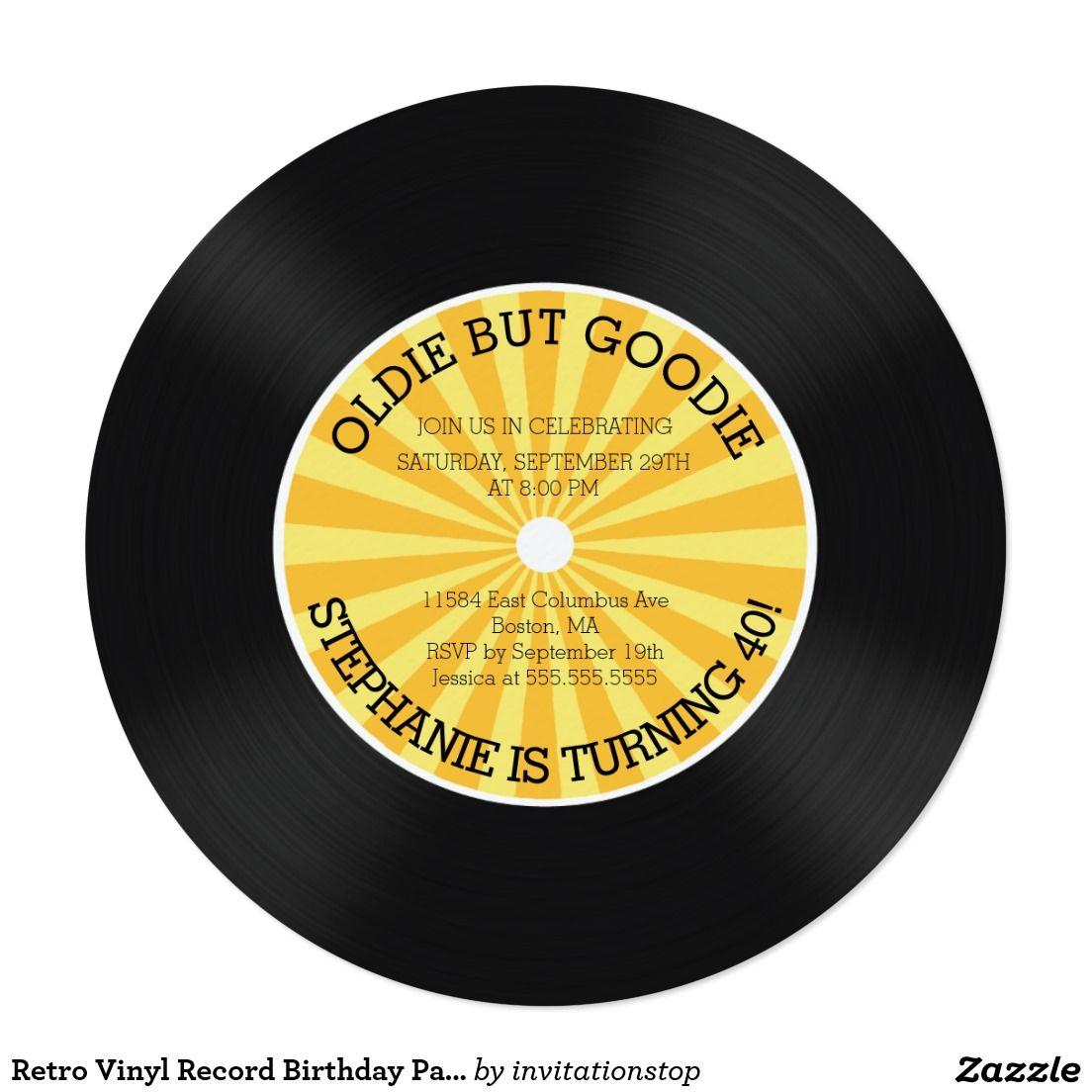 Retro Vinyl Record Birthday Party Invitation | 50 the ultimate F ...