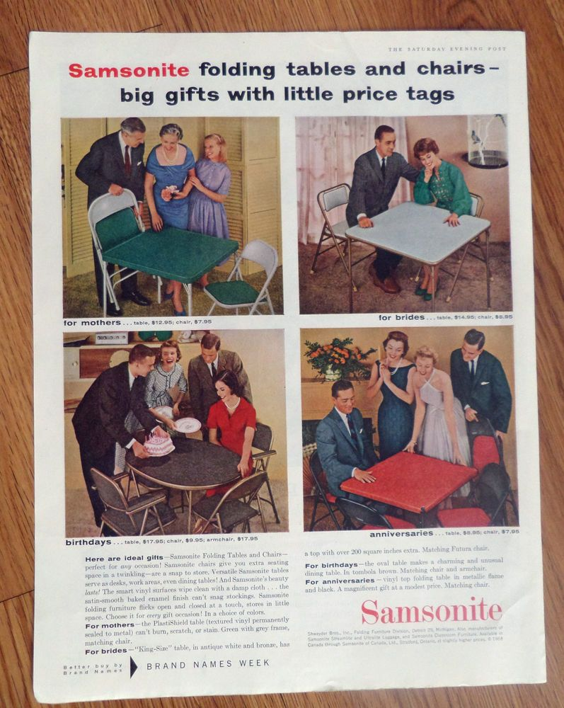 1958 Samsonite Folding Tables Chairs Ad For Mothers Brides