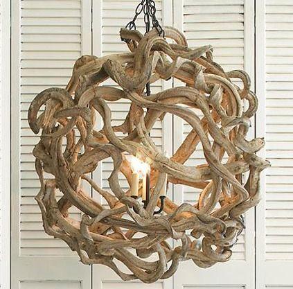 Driftwood Ball Chendelier 395 7 Super Chic Chandeliers That Won T Break Th Driftwood Chandelier Driftwood Lamp Decor