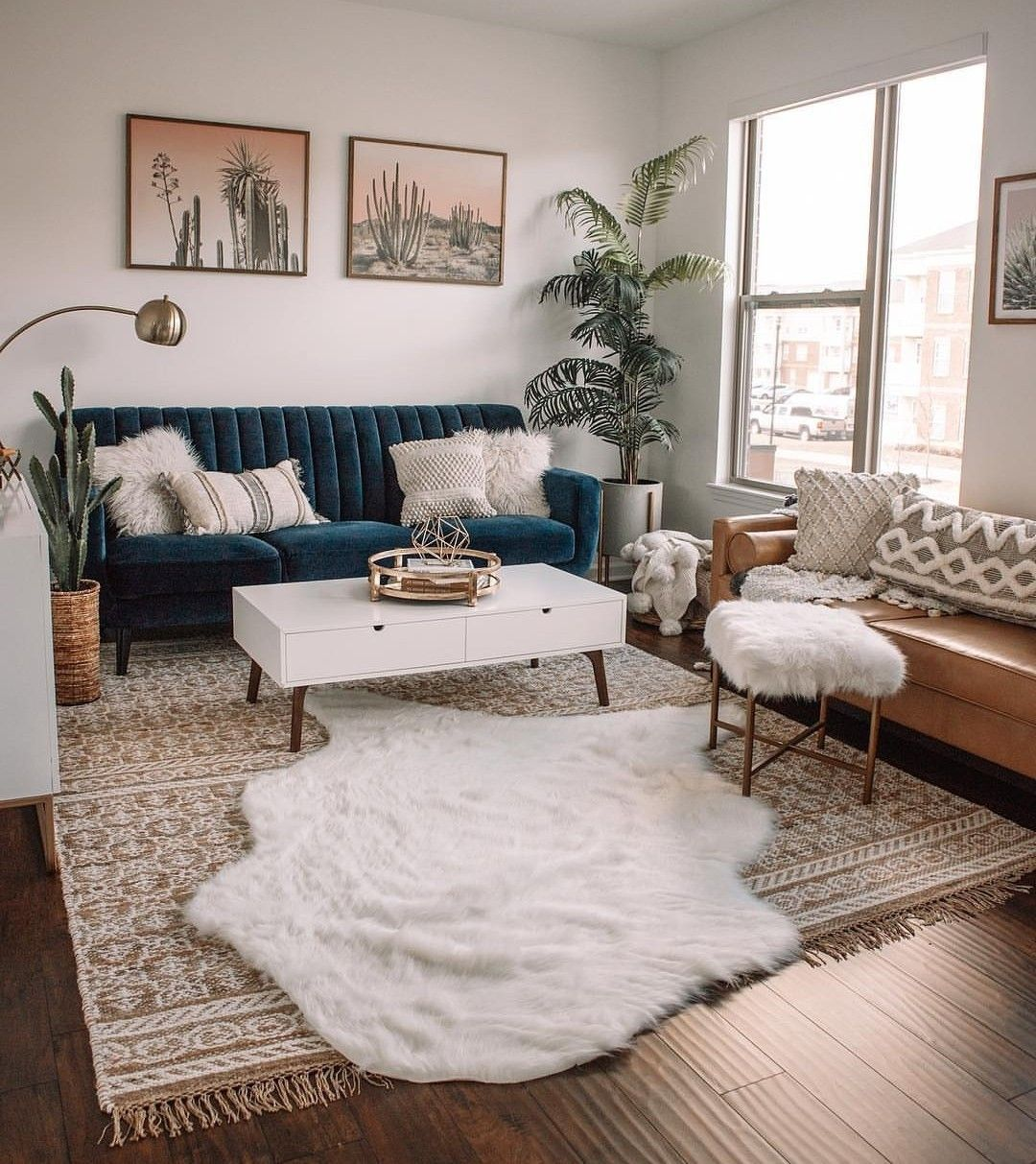 Small Mid Century Modern Living Room With Blue Velvet And Brown Leather Sofas And Houseplan Living Room Decor Apartment Apartment Living Room Comfy Living Room