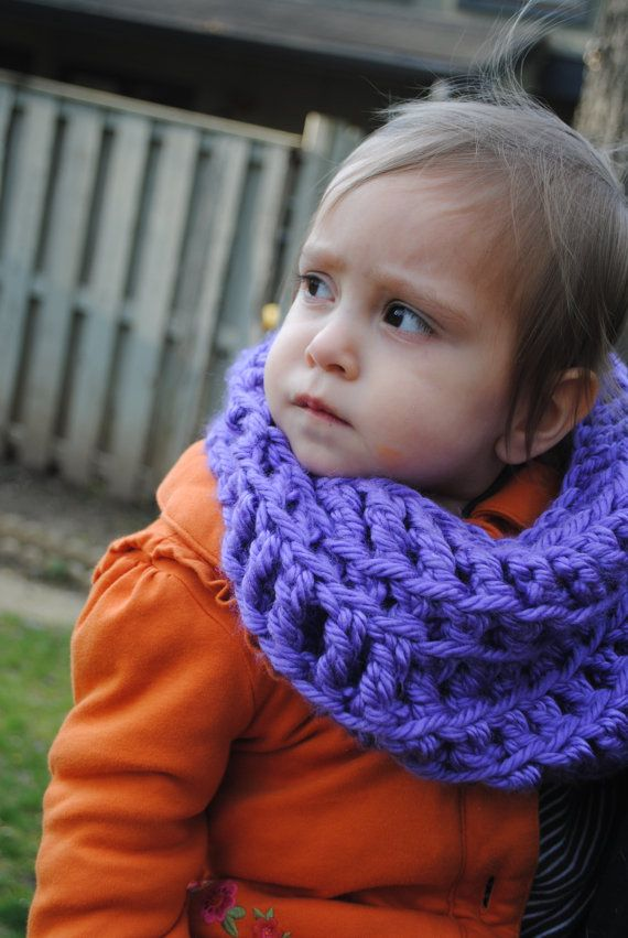 Lilac Purple Crochet Infinity Scarf for Toddlers, kids ...