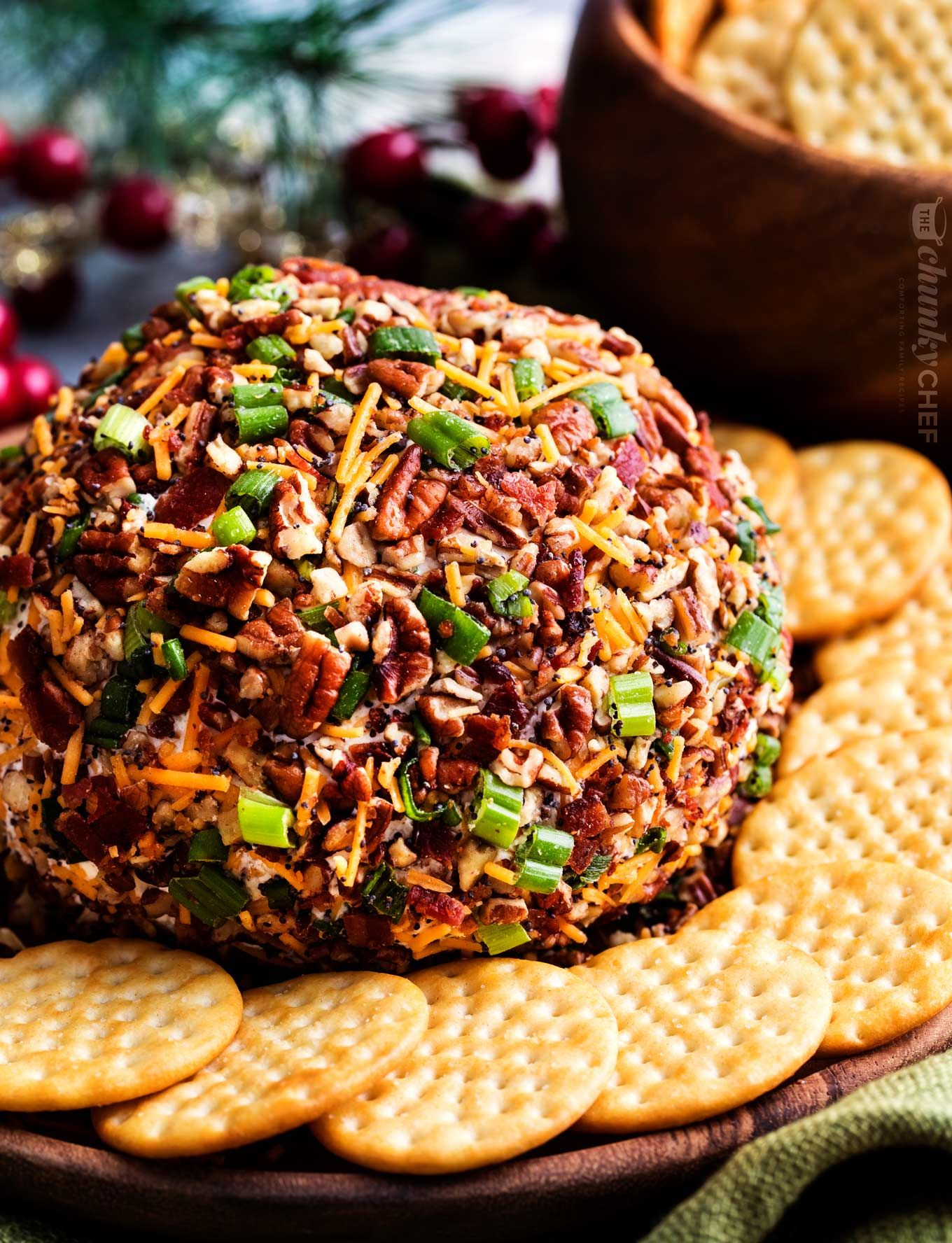 The Ultimate Bacon Ranch Cheese Ball is absolutely LOADED with bold flavors, and a perfect crowd-pl
