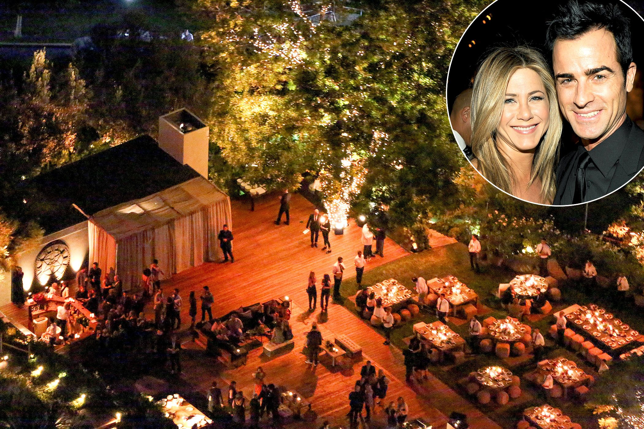 Pics See Aerial Shots From Jen Aniston Justin Theroux S Wedding Jennifer Aniston Wedding Jennifer Aniston Wedding Dress Jennifer Aniston