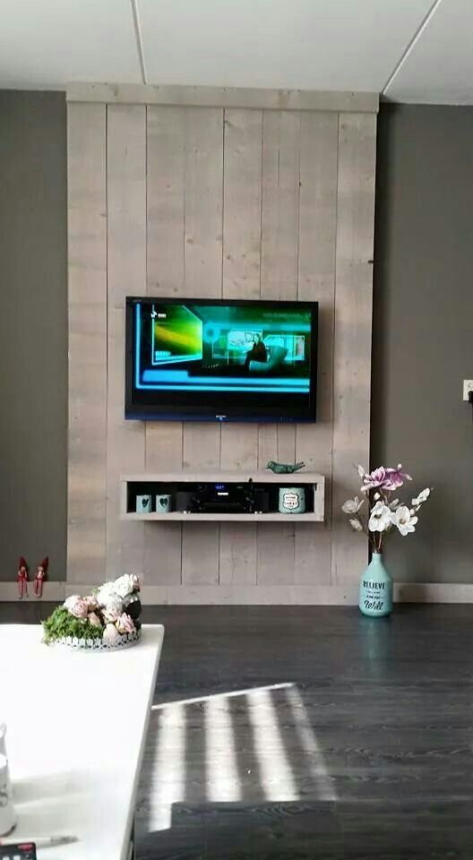 Tv wand home inspiration pinterest meuble tv tv for Meuble sous tele murale