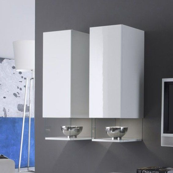 Colonne Murale Blanc Laque Design Six Meuble Rangement Meuble Rangement Salon Parement Mural