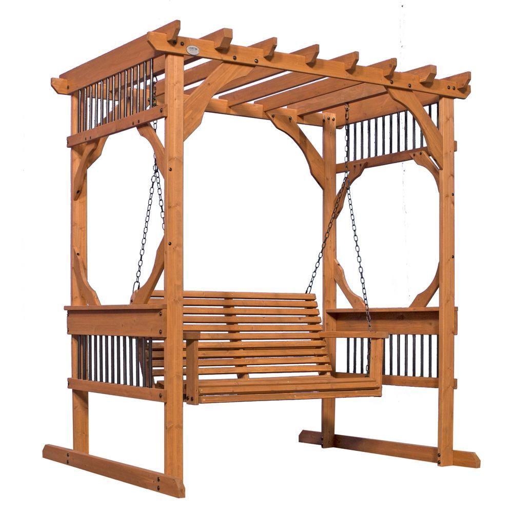 Backyard Discovery 3 Person Wood Patio Pergola Swing In Cedar With Images Pergola Swing Wood Patio Pergola Designs