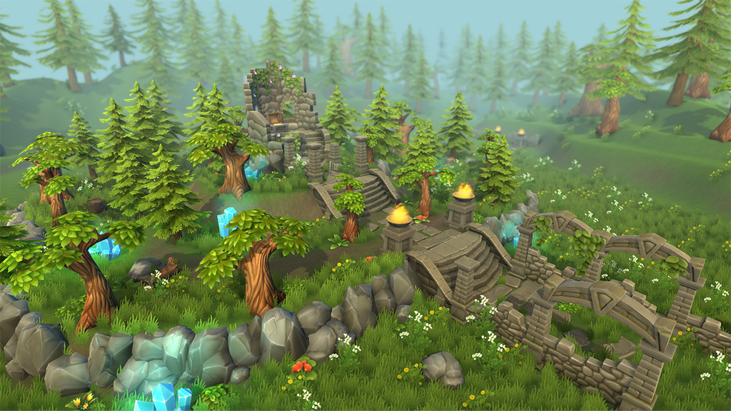 Lowpoly Forest Ruins 2 Game Concept Art Game Art Game Design