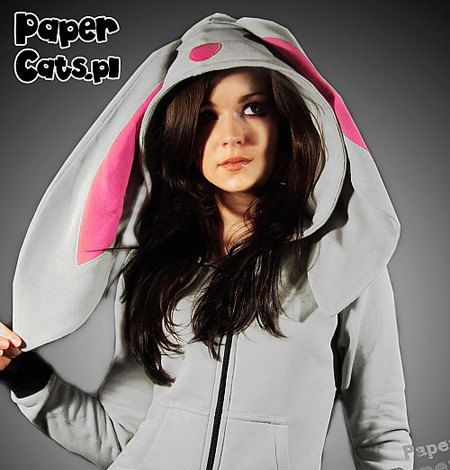 Bunny Hoodie Animal lolita cotton ear gray pink by PaperCatsPL