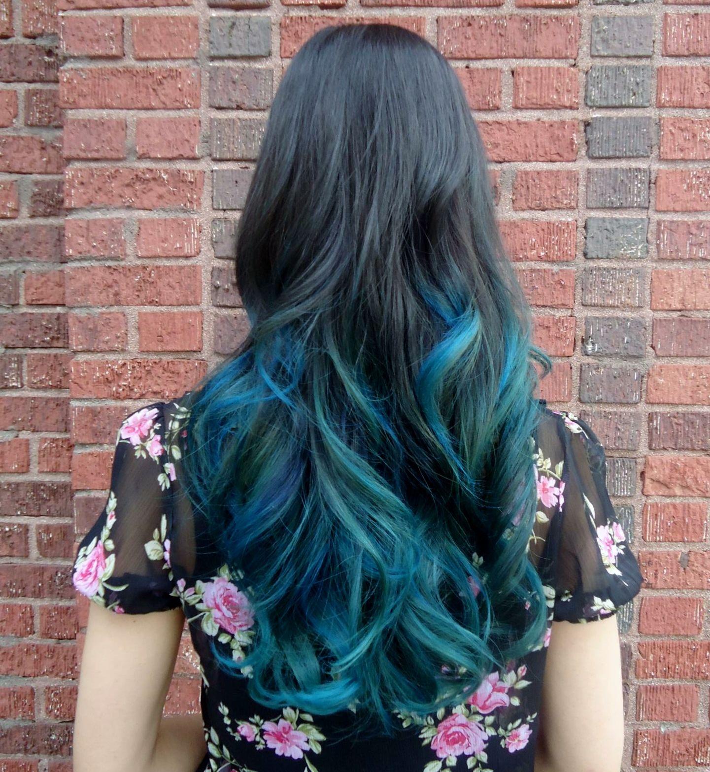 Dark Hair With Teal Dip Dye Blue Ombre Hair Teal Hair Dipped Hair
