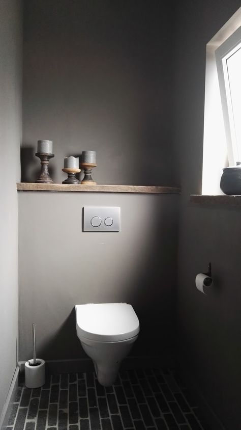 graues Gäste-WC, kleines Bad, grau, simple, modern #downstairsloo