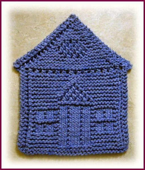 knitted house shaped dishcloth | dishcloths | Pinterest | Topflappen ...
