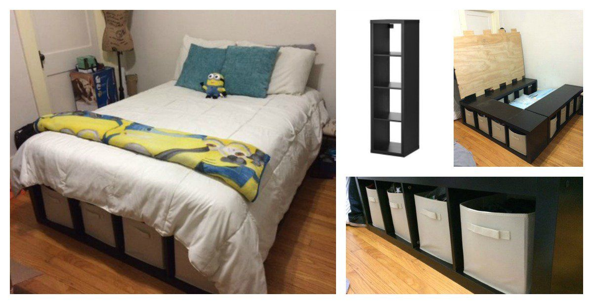 DIY Platform Bed Made From Storage Shelves | Diy platform ...