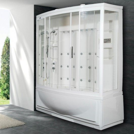 Ariel AmeriSteam ZAA210 steam shower includes a steam shower enclosure, 24 body massage jets, 6 Whirlpool massage jets, rainfall ceiling showerhead, LCD conrol panel, Built In Seats and steam sauna generator. All steam showers comes with free shipping.