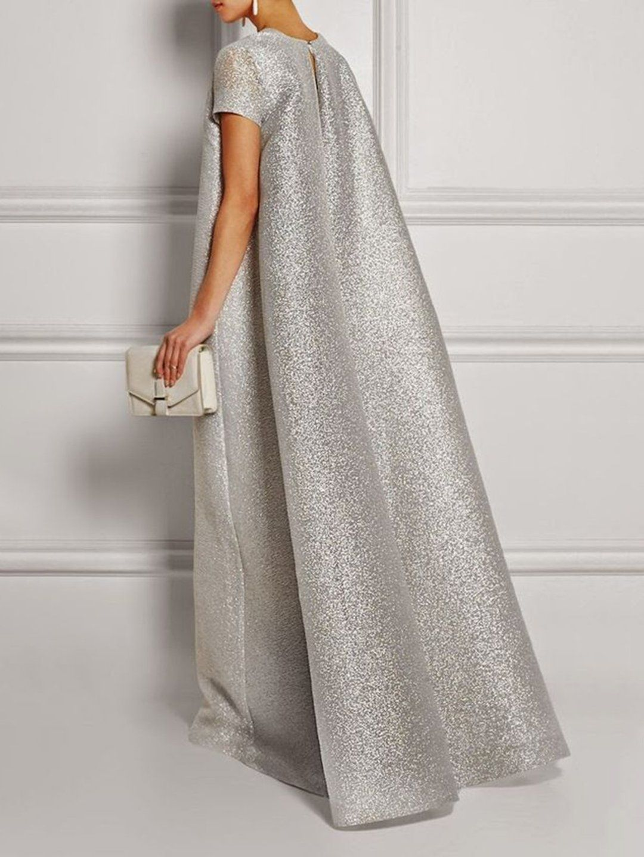 Silver Shift Glitter-finished Elegant Maxi Dress in 16 (mit