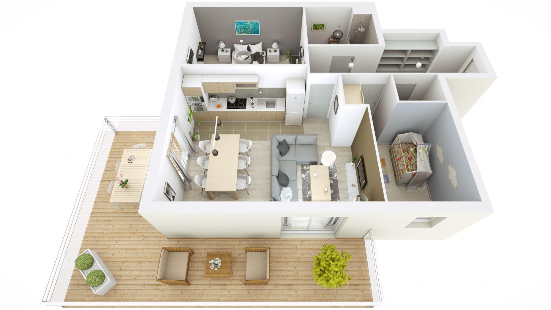 Plan 3d D Un Appartement Avec Terrasse Modelise Dans Cedreo
