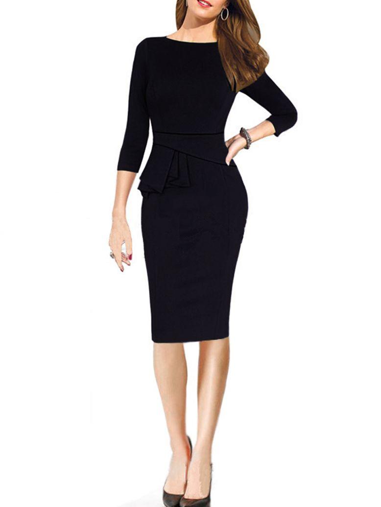 Long Sleeve Peplum Waist Slim Black Dress in 2019  0ce29760f2fc