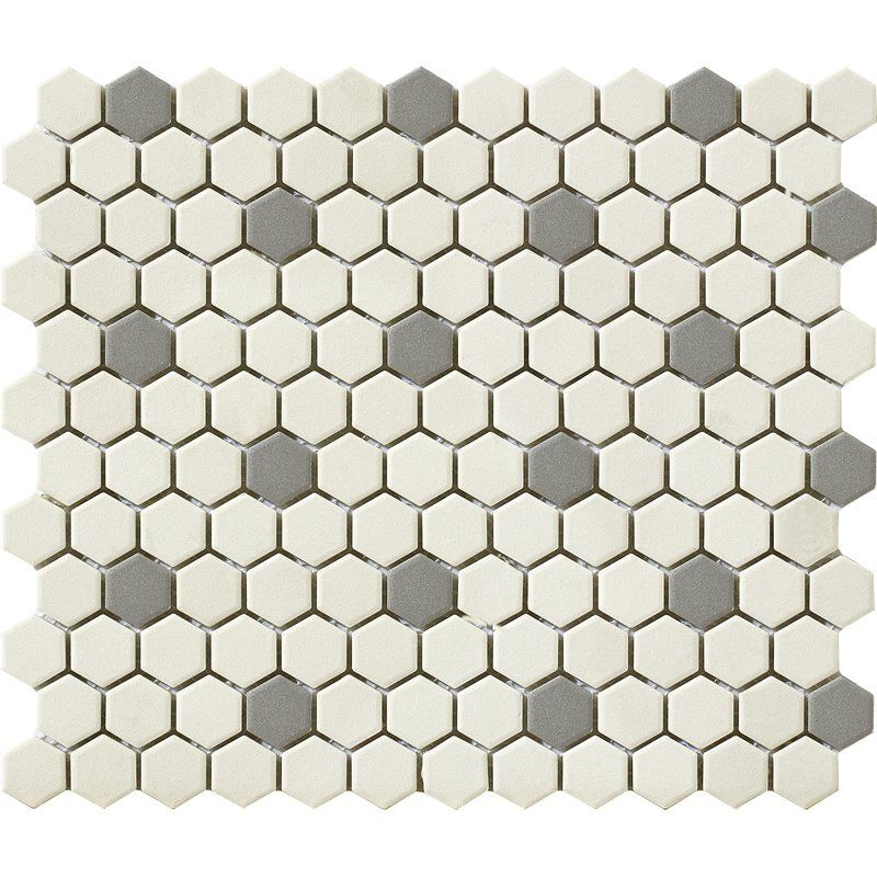 Urban 1 X 1 Porcelain Mosaic Tile In Off White Grey Hexagon Porcelain Mosaic Tile Porcelain Mosaic Stone Look Tile
