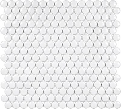 Anatolia 3 4 Soho Glossy Penny Round Porcelain Mosaics In White 51 030