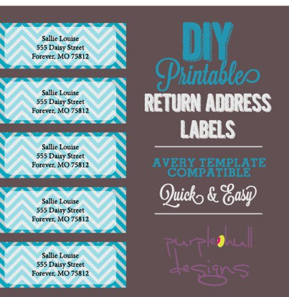 chevron return address labels turquoise gray avery template diy printable customizeable instant
