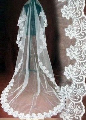 CATHEDRAL WEDDING VEILS White Or Ivory Lace Veil Length 110 Inches 2013 Free Shipping Via Etsy