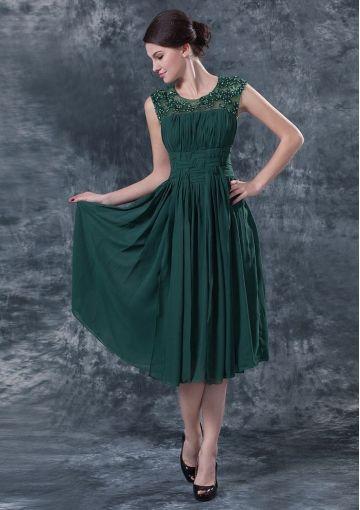 6ef912f2284 Scoop Tea-length Prom Dress   Dark Green Mother of The Bride Dresses  DIB138086