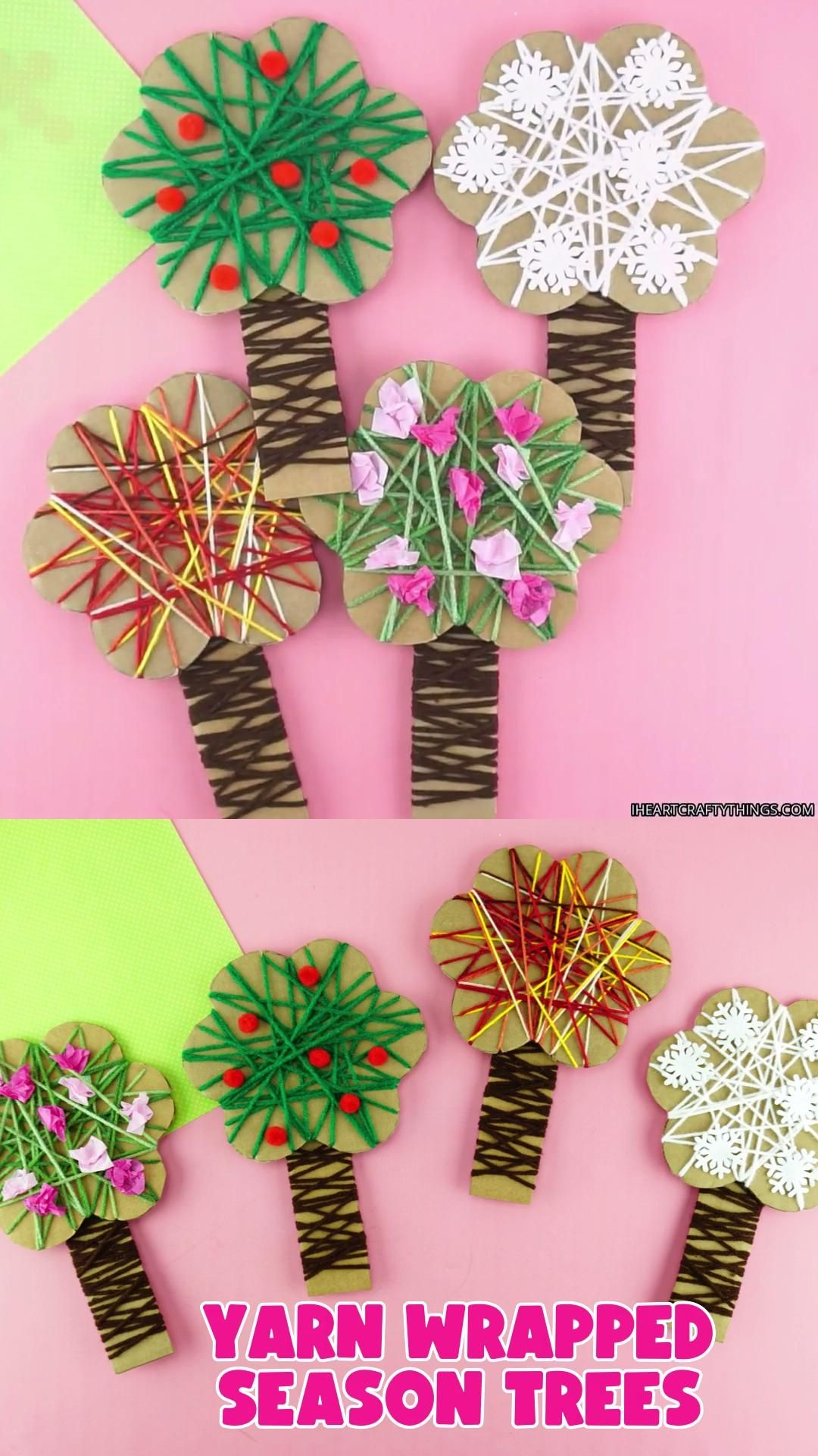 Learning about the four seasons is a fun and popular preschool theme. Here's a way to incorporate a fine motor activity into your learning unit by making this four seasons tree craft.  Kids will have so much fun making a spring, summer, fall and winter seasons tree all while strengthening the fine motor muscles in their little fingers and hands. Our free template makes prep time for this four seasons craft super easy too.