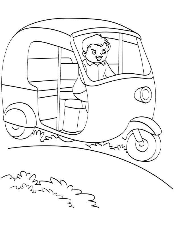 Happy Auto Rickshaw Driver Coloring Page Preschool Activities