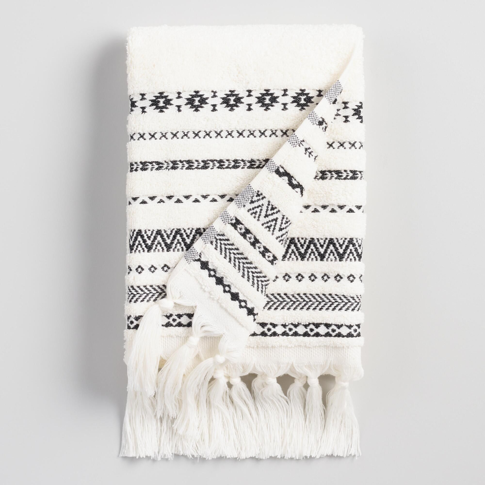 Ivory and Black Tribal Striped Zohra Hand Towel by World Market #handtowels