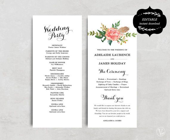 Printable Wedding Program Template, Floral Wedding Program, Boho - wedding program template