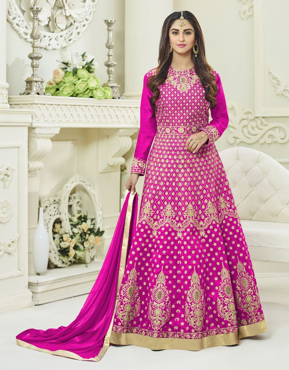 Fuschia pink silk embroidered anarkali suit by cristal dsouza