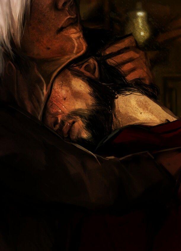 Fenris and Hawke http://knight-enchanter.tumblr.com/