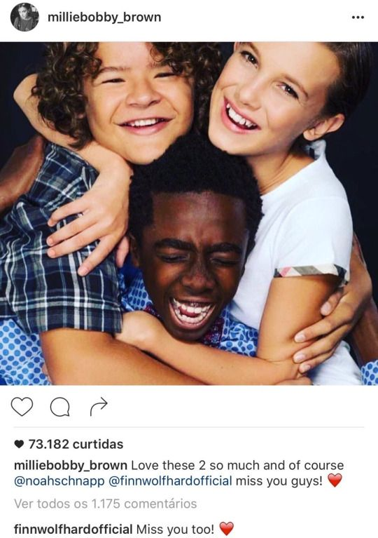Gaten Matarazzo Caleb Mclaughlin Millie Bobby Brown From Millie S Instagram With Shoutouts To No With Images Stranger Things Kids Stranger Things Cast Stranger Things