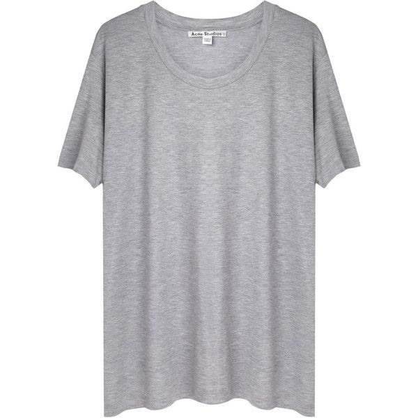 Acne Studios Bijou Tencel Tee (335 BRL) ❤ liked on Polyvore featuring tops, t-shirts, shirts, tees, haut, grey shirt, relax t shirt, drop shoulder t shirt, tencel shirt and short sleeve tee