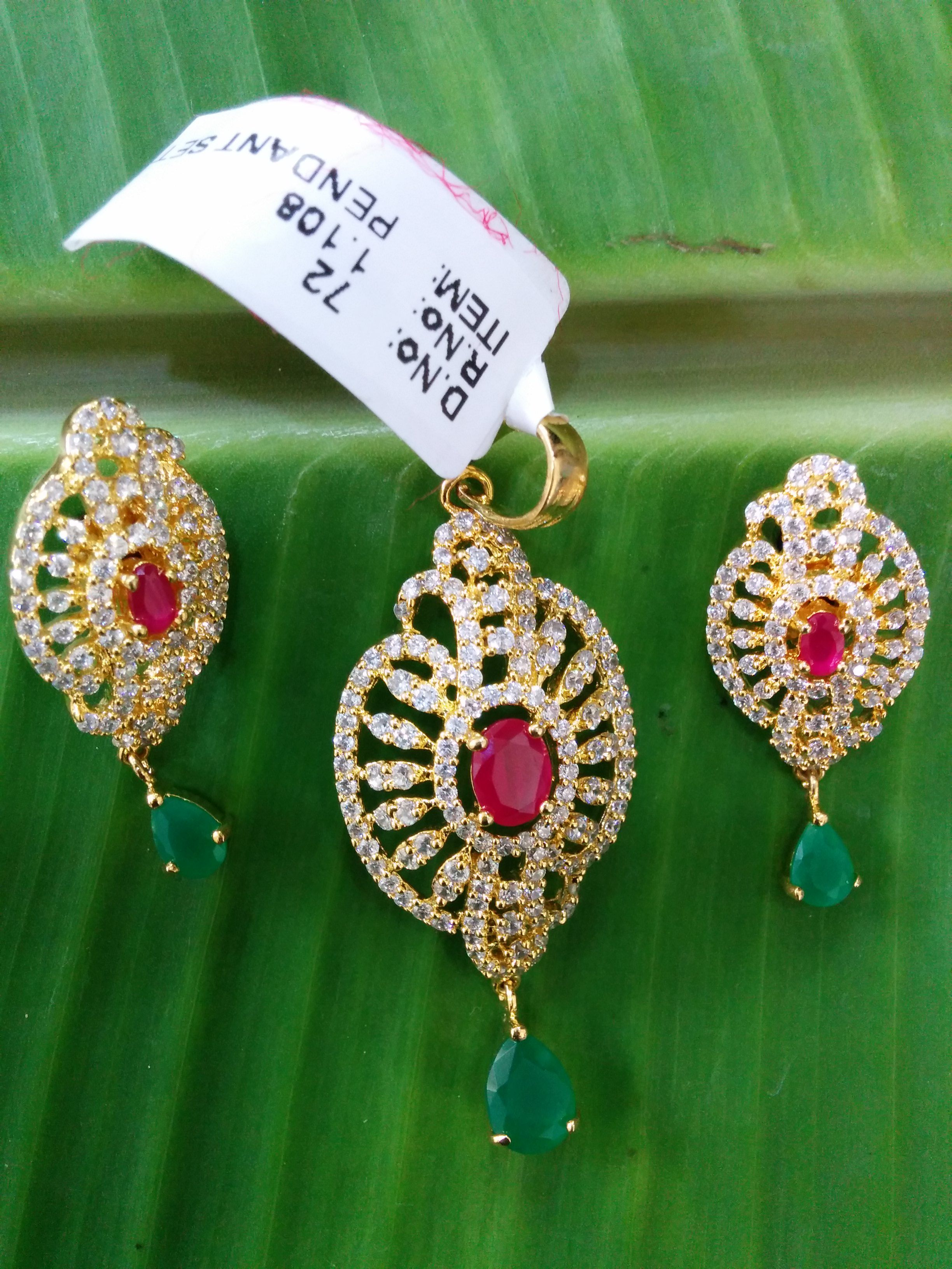 CZ Ruby Pendant Set 1 gm gold or imitation jewelry Chaitra