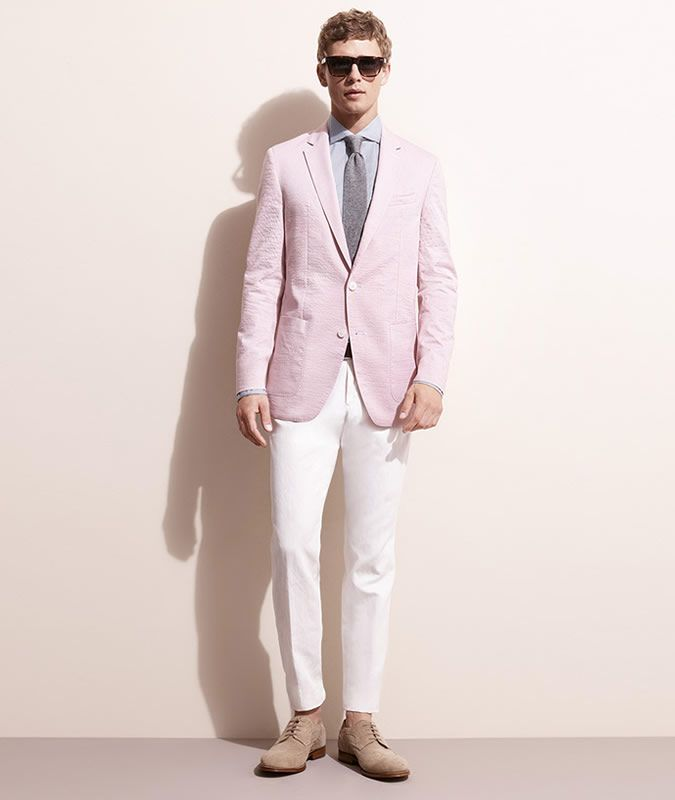 Men's Outfit Inspiration Lookbook - Pink Blazer   White Trousers ...