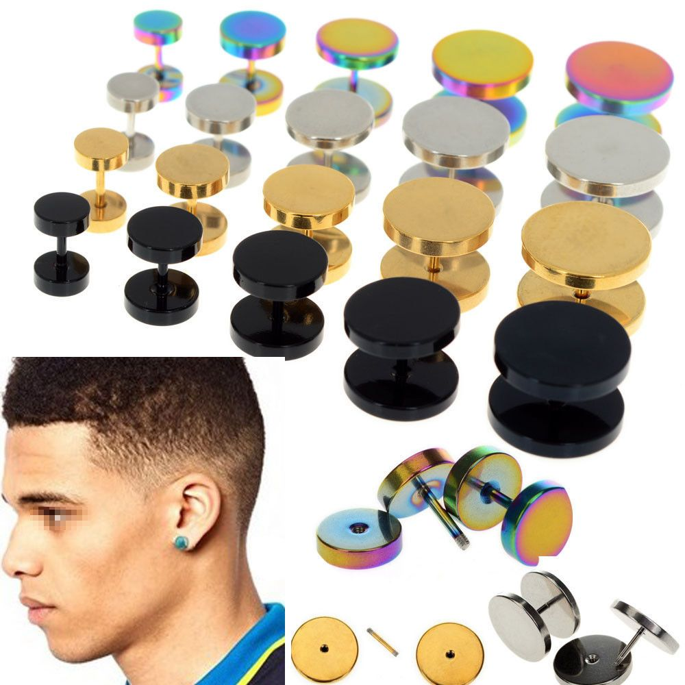 2x Punk Jewelry Stainless Steel Round Plain Men Ear Stud Barbell Earring 6  14mm