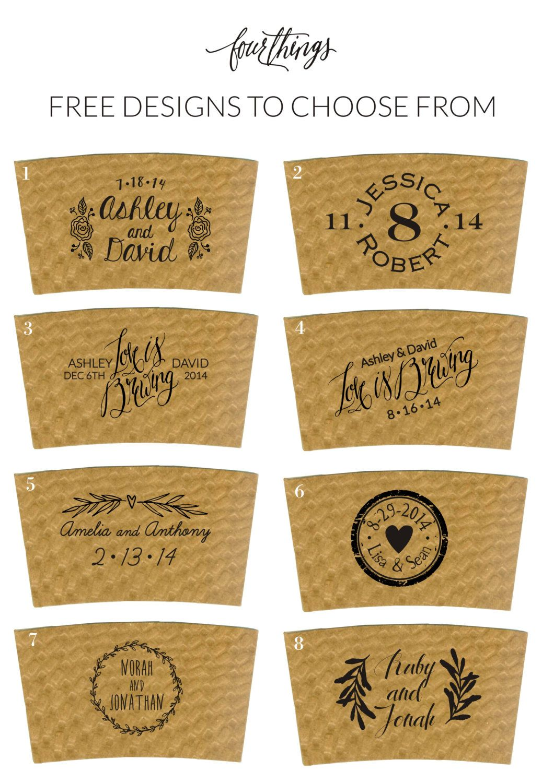 Custom Coffee Sleeves wedding coffee bar by FourThingsPaper                                                                                                                                                     More #coffeebarideas