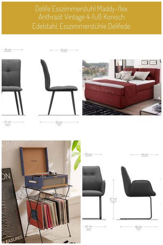 Delife Esszimmerstuhl Maddy Flex Anthrazit Vintage 4 Fu Konisch Edelstahl Esszimmersthle Delifede In 2020 Stuhle Stuhl Design Anthrazit