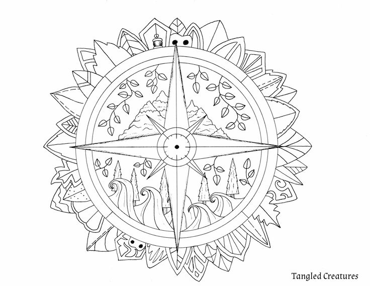 Adult Coloring Page - Compass Coloring Page - Tangled ...