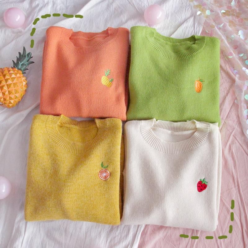 4 COLORS FRUIT EMBROIDERY KNIT SWEATER BY21144