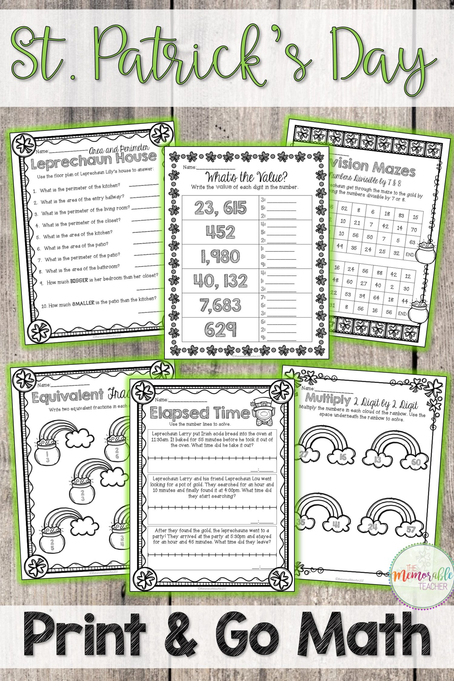 St Patricks Day Math Worksheets Pinterest Elapsed Time Math