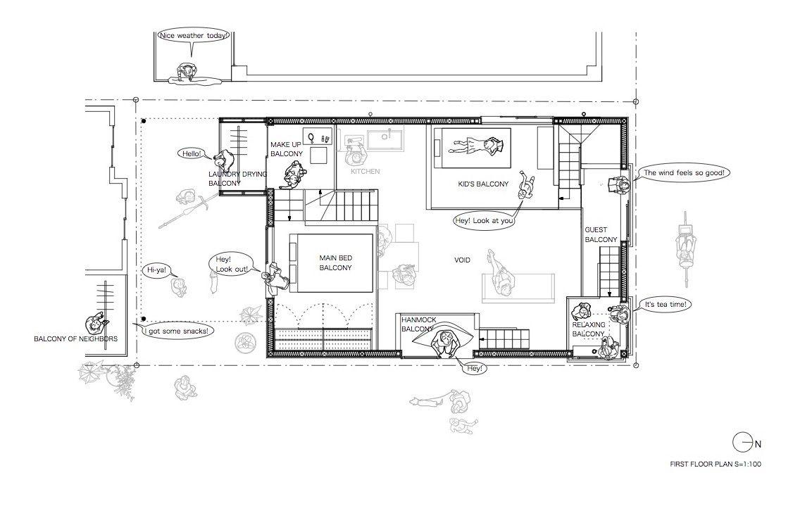 Gallery Of Balcony House Takeshi Hosaka Architects 30 House With Balcony Floor Plans Architect