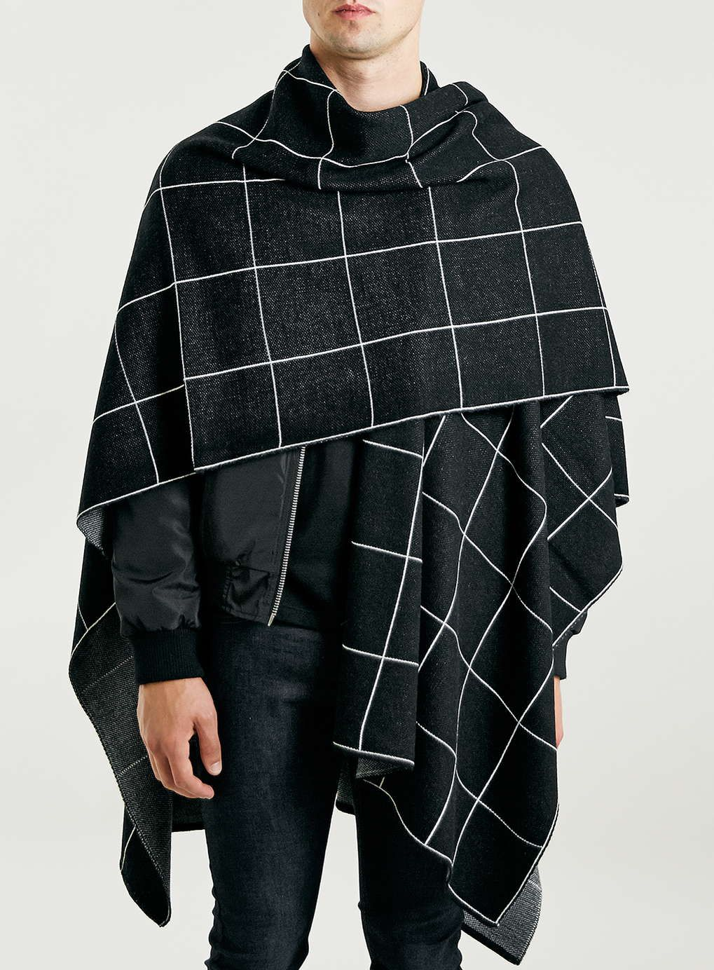 Black Windowpane Check Knitted Cape | Male fashion and Man style