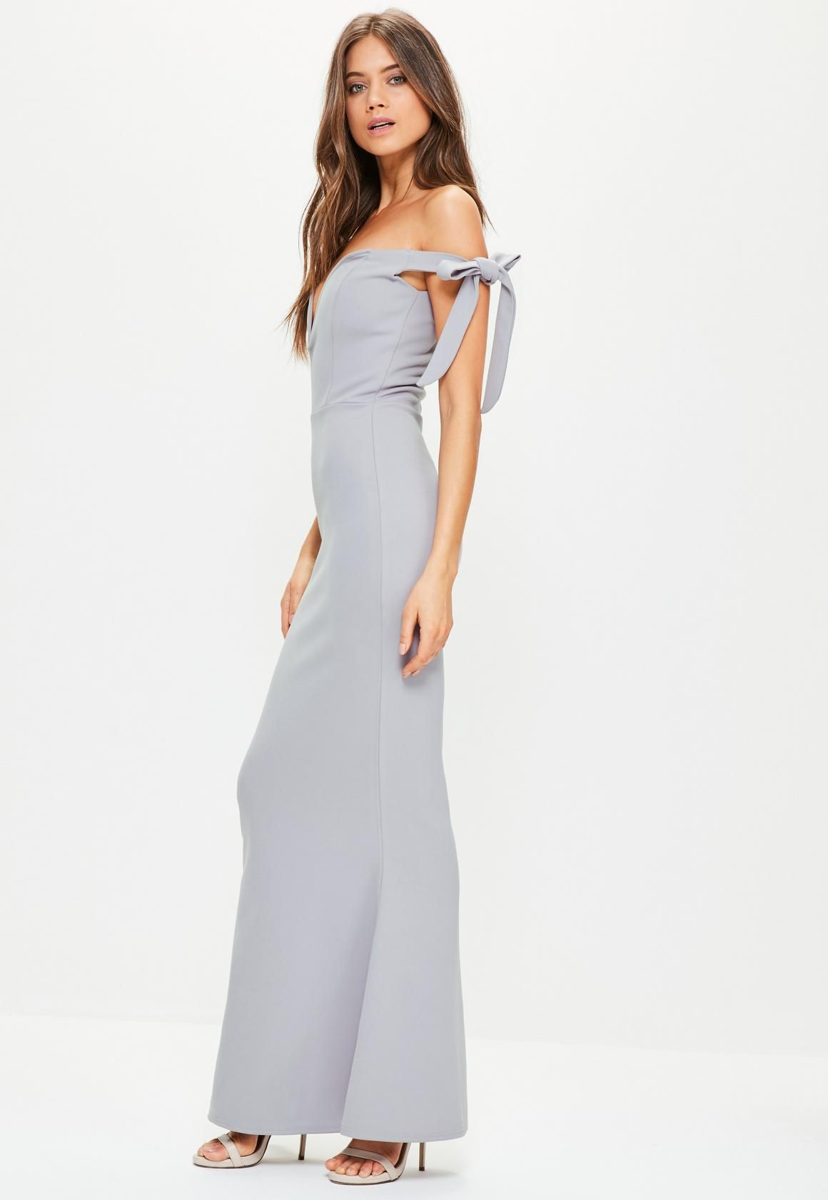 Missguided grey sweetheart neck bardot tie maxi dress summer i