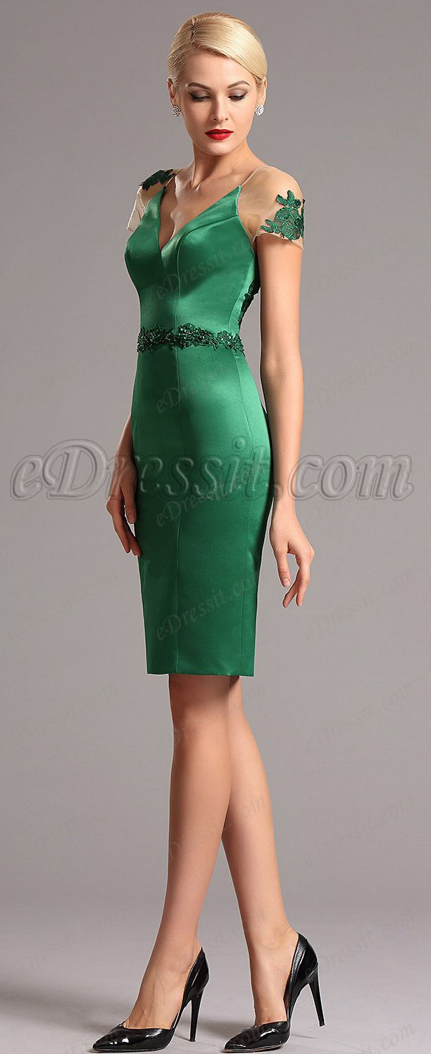 Fresh green mother of the bride dress, cocktail wedding guest dress ...