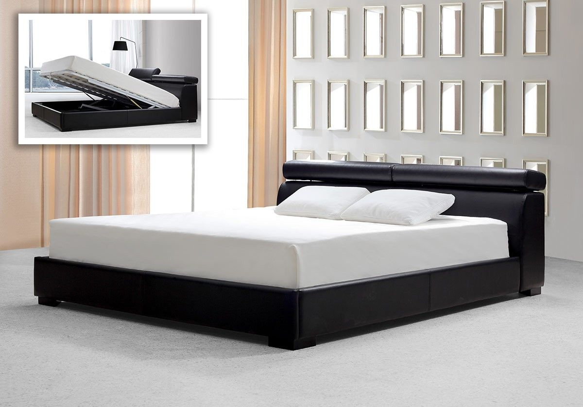 Logan   Black Leather Bed With Storage   Modern Bedroom   Bedroom Pictures